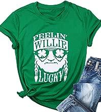 Feelin' Willie Lucky St. Patrick's Day Irish Shamrock T-Shirt Women Letter Print Funny Graphic Tee Short Sleeve Tops