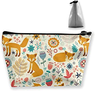 Cute Foxes Ornate Flowers Roomy Cosmetic Bag Waterproof Travel Makeup Toiletry Pouch Small Accessories Organizer with Zipp...