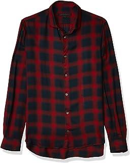 John Varvatos Star USA Men's Dedrick LS Clean Front Sport Shirt, Bluff Edge