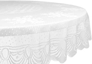 """DII Home Essentials 100% Polyester, Machine Washable, Shabby Chic, Vintage Tablecloth or Overlay 63"""" Round, Floral Lace"""