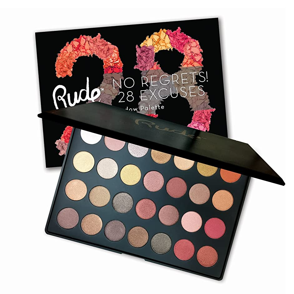 (3 Pack) RUDE No Regrets! 28 Excuses Eyeshadow Palette - Leo Shimmer (並行輸入品)