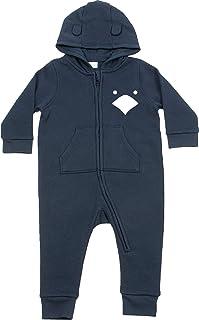 Kleckerliese Baby Kinder Strampler Overall Sprüche Anzug Jumpsuit mit Kapuze Jungen Mädchen Motiv Tiere Küken Huhn Hühnchen