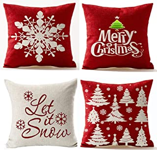 Andreannie Set of 4,Merry Let It Snow Snowflake Red Cotton Linen Decorative Throw Pillow Cover Cushion Case for Home Sofa ...