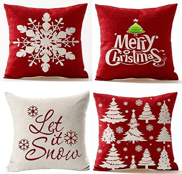 Andreannie Set Of 4 Merry Let It Snow Snowflake Red Cotton Linen Decorative Throw Pillow Cover Cushion Case For Home Sofa Square 18 Inches