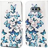 F�r Samsung Galaxy S10e H�lle Lader Tasche PU Lader H�lle Gemalt Muster Flip Brieftasche Kartenhalter Magnetschnalle St�nder Sto�fest Kratzfest Sto�stange Handyh�lle Blauer Schmetterling
