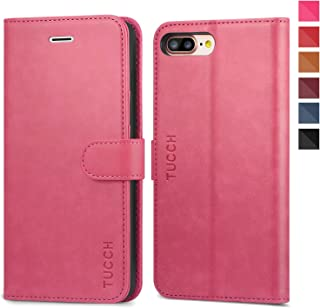 TUCCH iPhone 8 Plus Case, iPhone 7 Plus Wallet Case, Magnetized Closure Card Slots Money Pouch, PU Leather Purse Cover Flip Book [TPU Interior Case] Compatible with iPhone 8 Plus/7 Plus, Hot Pink