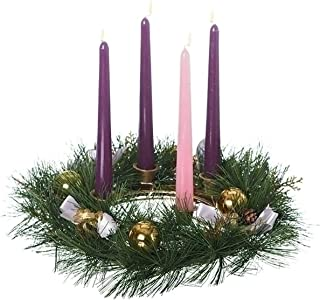 Roman Golden Pine Cone And Purple Ribboned Christmas Advent Wreath