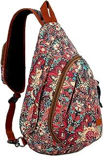 BAOSHA Canvas Sling Bag Crossbody Shoulder Chest Bag Travel Hiking Daypack for Women XB-04 (HS)