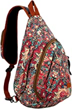 BAOSHA Canvas Sling bag Crossbody Shoulder Chest Bag Travel Hiking Daypack for Women XB-04 (HS)