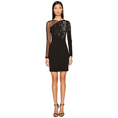 Just Cavalli Long Sleeve Falling Stars and Mesh Dress (Black) Women