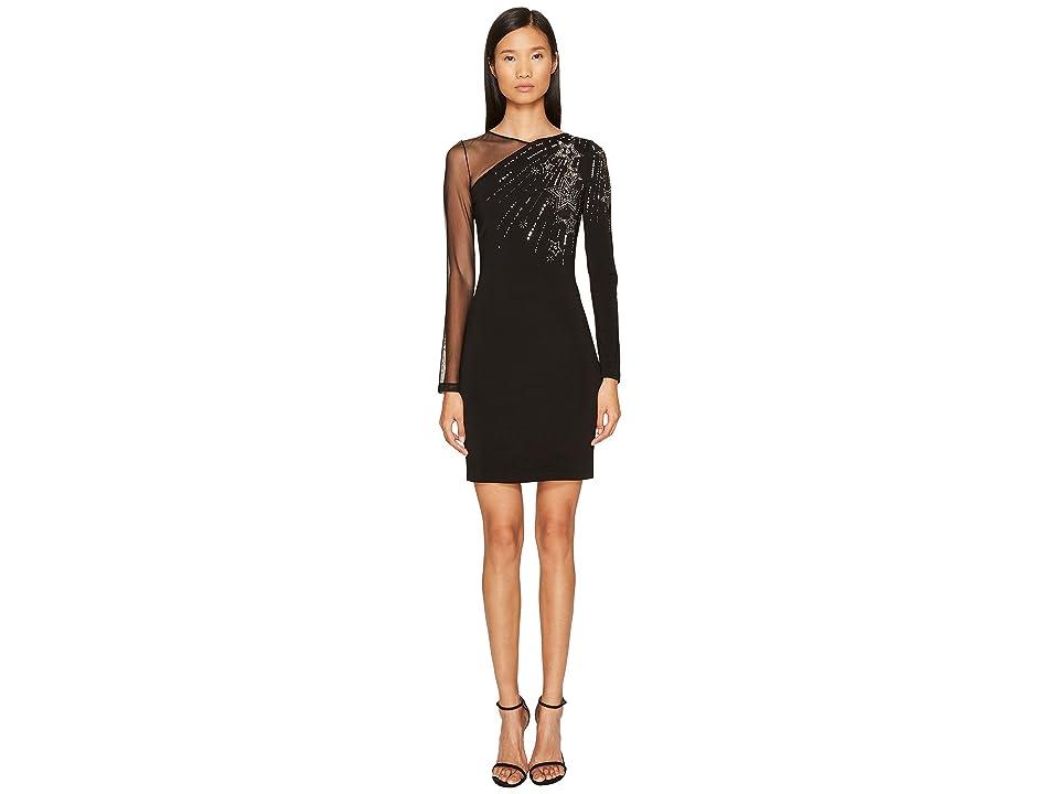 Just Cavalli Long Sleeve Falling Stars and Mesh Dress (Black) Women