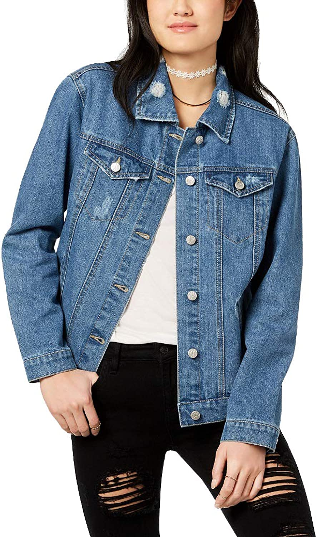 Almost Famous Juniors' LaceUp Denim Jacket