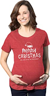 Maternity Merry Christmas Oh And BTW I'm Pregnant Pregnancy Tee Cute Baby Announcement Shirt (Heather Red) - L