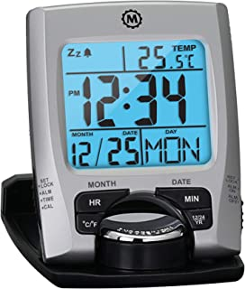 Marathon Travel Alarm Clock with Calendar & Temperature – Phone Stand Function..