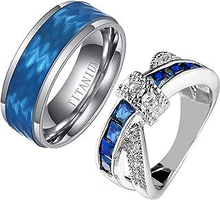 Ringcrown Couple Rings Princess Cut Blue Cz Womens Wedding Ring Sets Titanium Steel Man Wedding Bands(Please Buy 2 Rings f...