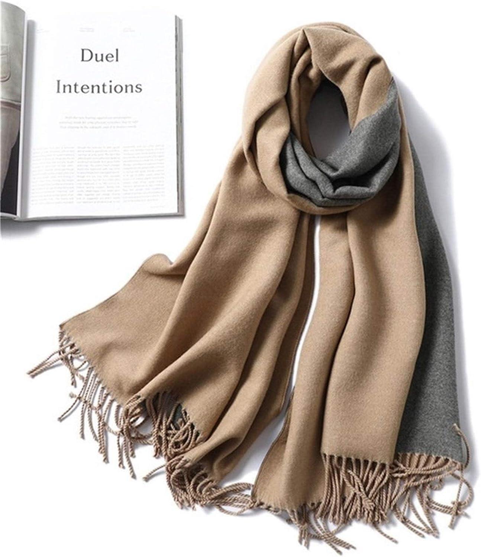 DZHT Winter Cashmere Scarf Women Thick Warm Shawls Wraps Lady Solid Scarves Fashion Blanket Quality Foulard (Color : A15)