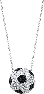 Crystaluxe Soccer Football Team Pendant Necklace with Swarovski Crystals in Sterling Silver
