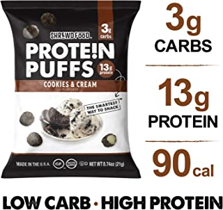 Shrewd Food Low Carb Protein Puffs Cookies and Cream 8 Pack   112g Protein (14g per Serving), 3g Carbs   High Protein, Gluten Free Snacks   No Artificial Flavors   Soy Free, Peanut Free