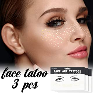 LINGPAR 3Sheets Face Tattoo Sticker Metallic Shiny Temporary Water Transfer Tattoo for Professional Make Up Dancer Costume Parties, Shows Gold Glitter (3 Sheets-001)