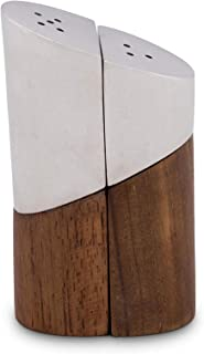 Vagabond House Tribeca Collection Pewter and Teak Salt and Pepper 3.5