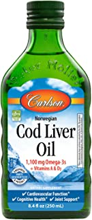Carlson - Cod Liver Oil, 1100 mg Omega-3s, Norwegian, Sustainably Sourced, Unflavored, 250 ml.