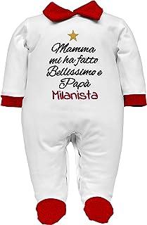 corredino neonato Juve Inter Milan Baby-Strampler aus Baumwolle oder Chenille