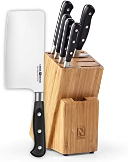 Cook N Home 02653 6 Piece Knife Block Set, Bamboo