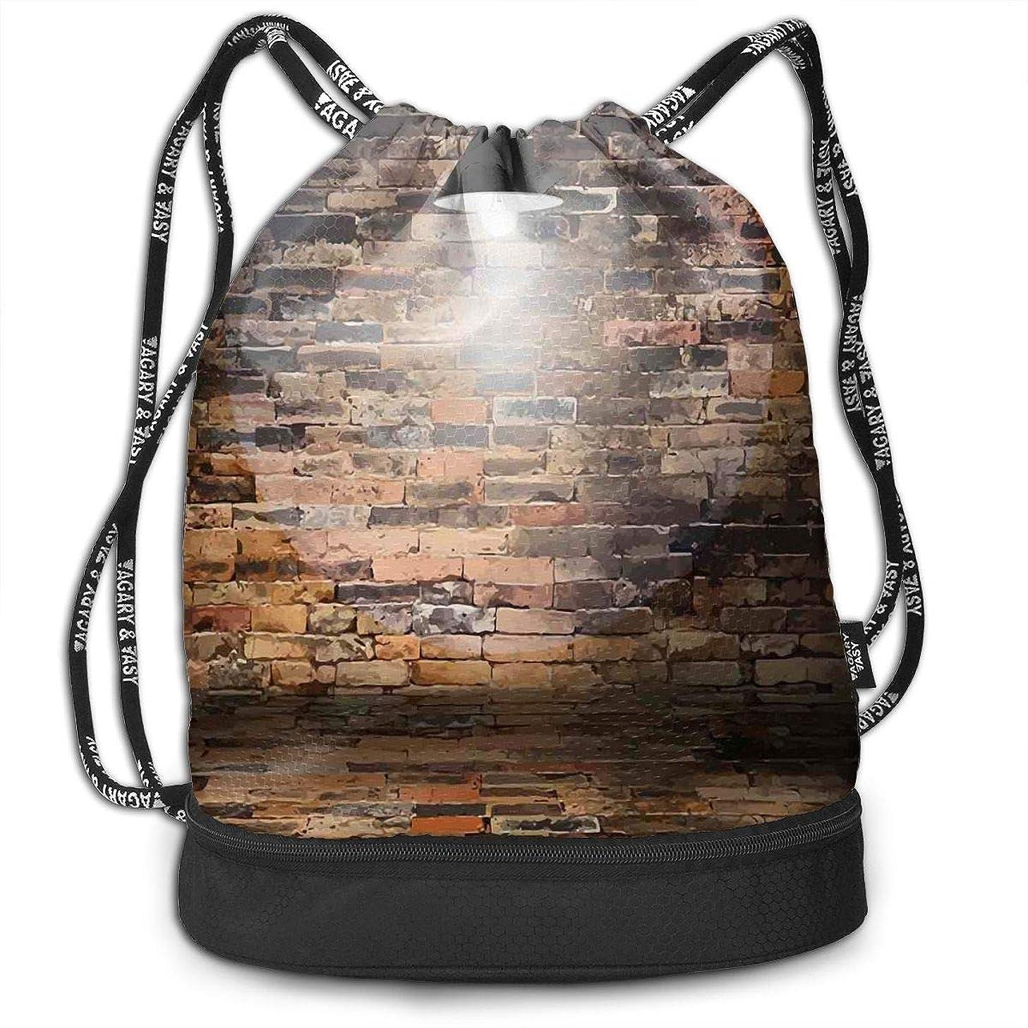 Drawstring Backpacks Bags,Dark Cracked Bricks Ceiling Lamp Spot Light Life Building Urban City Image,Adjustable