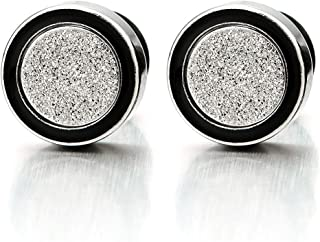 8-12MM Mens Womens Circle Stud Earrings Steel Cheater Fake Ear Plugs with Sand Glitter, 2pcs