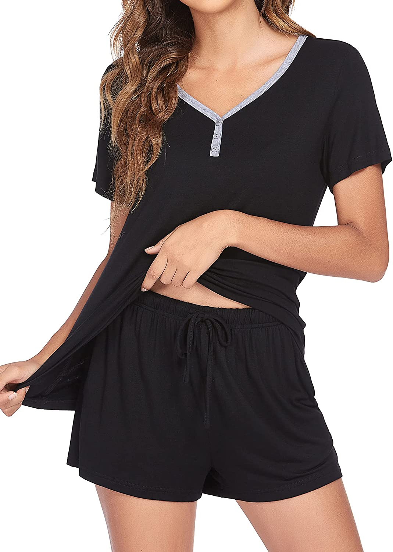 Ekouaer Pajamas Sets Short Sleeve Sleepwear Womens Pjs Sets Two Piece Nightwear Soft Lounge Sets with Pockets S-XXL