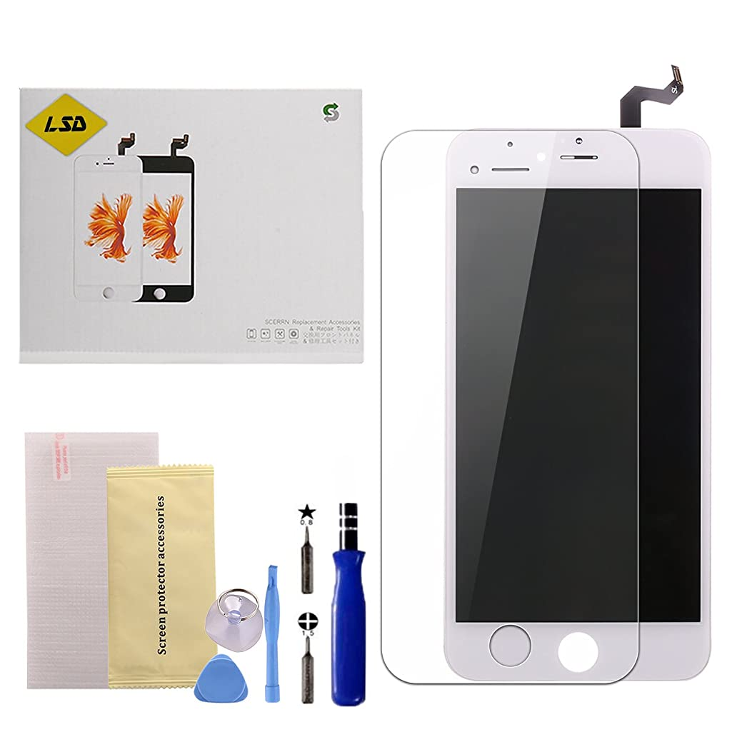 Screen Replacement for iPhone 6 Plus White LCD Display Touch Screen Digitizer Replacement Full Assembly Set with Free Tools and Professional Glass Screen Protector for iPhone 6 Plus 5.5 Inch (White)
