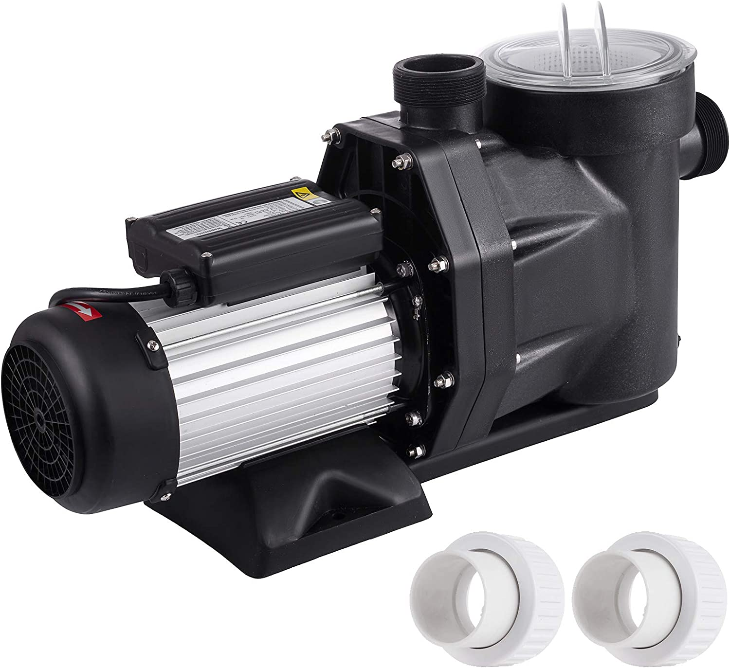 SmarketBuy 2.5HP Swimming Pool Pumps, Single Speed 110V High Flow Pool Pump, Power 1850W Flow 560L/M Head 21M, Above Ground Pool Pumps with Strainer Basket, 2Pc Connector for 1.5