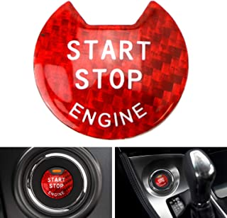 iJDMTOY (1) Gloss Red Real Carbon Fiber Keyless Engine Start/Stop Push Start Button Cover For Nissan Altima Maxima Pathfinder Titan Murano Infiniti Q50 Q60 QX60