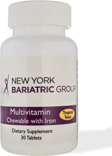 New York Bariatric Group Multivitamin Chewable with Iron Tropical Twist - 30 Tablets