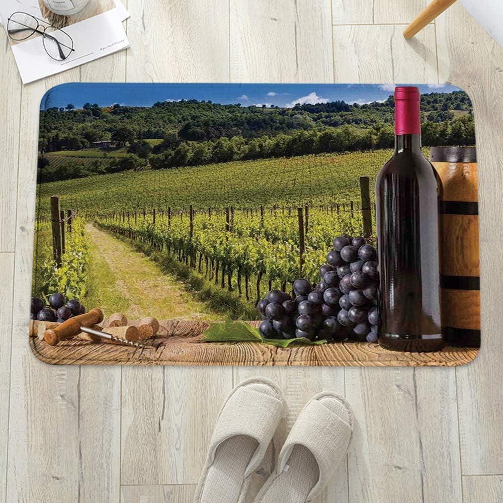 Alfombra de baño Antideslizante 60x100 cm,Decoración de bodega, botellas de vino tinto con uvas en tabl,Cocina,Mascota,Alfombrilla De Baño,Antideslizante,Multifuncional,Suave,Cómoda Y Súper Absorbente