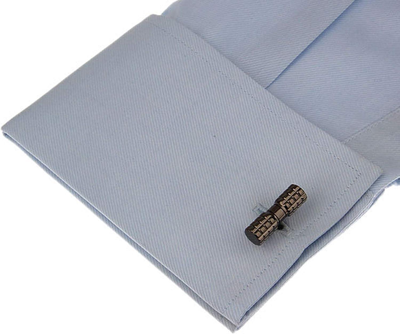 Daesar Cufflinks Tuxedo Men's Cufflink Shirts Cylindrical Black Cuff Links and Studs