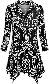 An Ping Womens Casual 3/4 Sleeve Loose Irregular Hem Swing Tops Flare Tunic Blouse Shirts