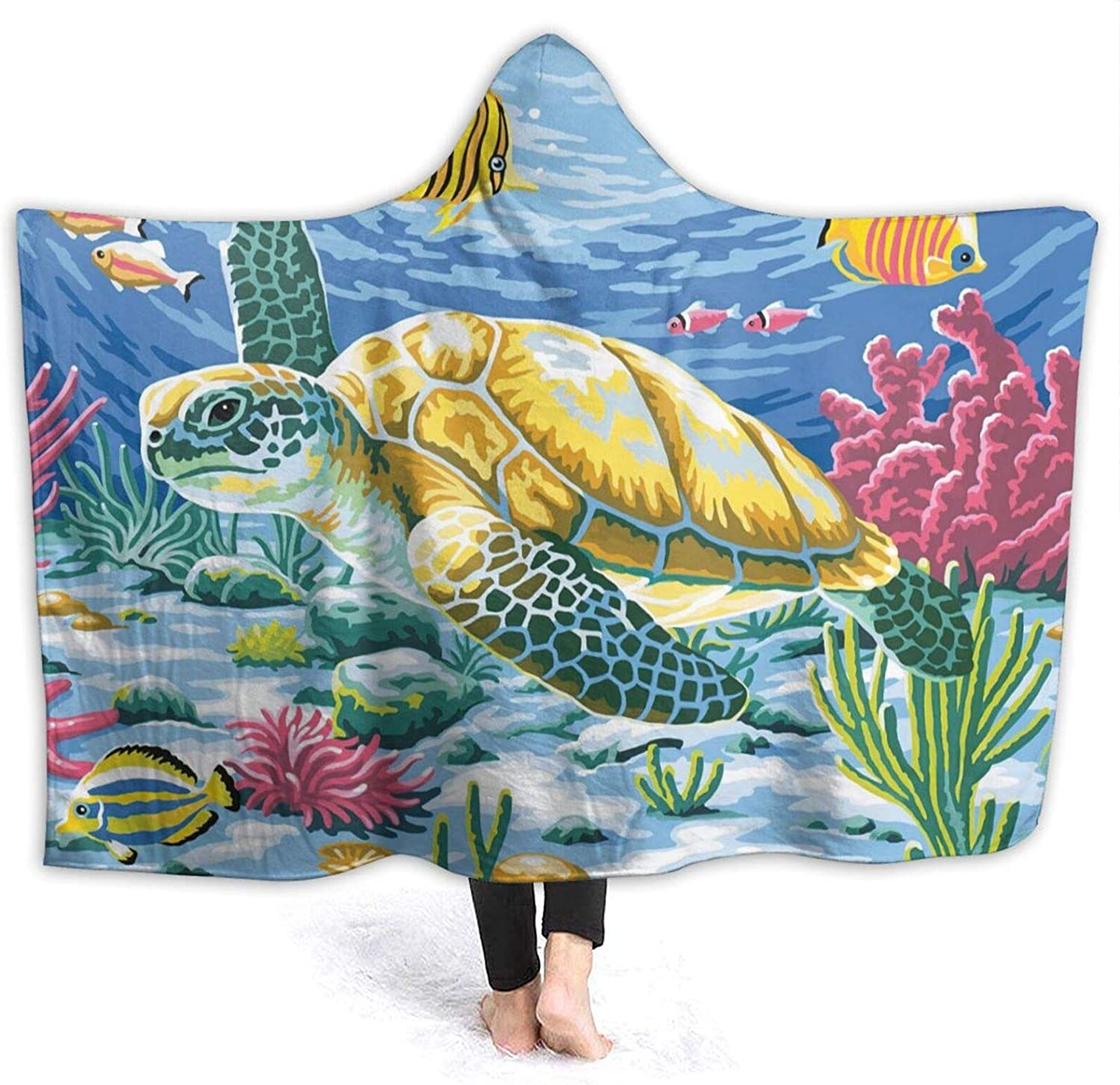 New products world's highest quality popular Sea Turtle and Fish Hooded We OFFer at cheap prices Air Blanket Conditioning Thro