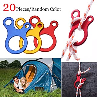 20 PCS Aluminum Guyline Cord Adjuster Tent Rope Tensioner 3 Holes Adjusters Ultralight Strong Guy Lines Tensioner Tent Guyline Cord Adjuster for Tent Pegs Camping Hiking Backpacking Outdoor Activity