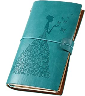 Leather Journal, Vintage Refillable Travelers Notebook Writing Journal for Women with Line Paper+ 1 PVC Zipper Pocket +18 Card Holder 4.7 X 7.9in (Blue)