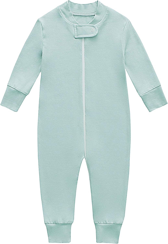Bamboo/Cotton Baby Footless Pajamas, Boys and Girls Zip up Sleep and Play, Long-Sleeve Coveralls