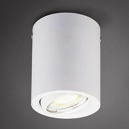 B.K.Licht spot blanc LED en saillie, ampoule LED GU10 5W incluse, spot plafond, éclairage plafond, 3000 Kelvin, blanc chaud