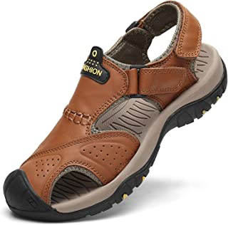 Men's Sport Sandals Outdoor Hiking Sandals Closed Toe Leather Athletic Lightweight Trail Walking Casual Sandals Water Shoes