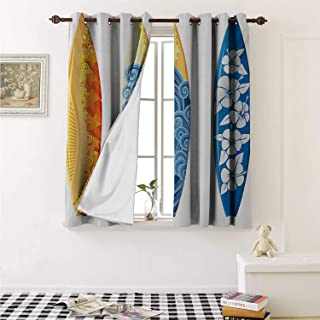 shenglv Surf Room Darkening Wide Curtains Ornate Colorful Surfboards Vocation Fun Water Sports Moving Waves Lifestyle Window Curtain Drape W108 x L72 Inch Blue Orange Yellow