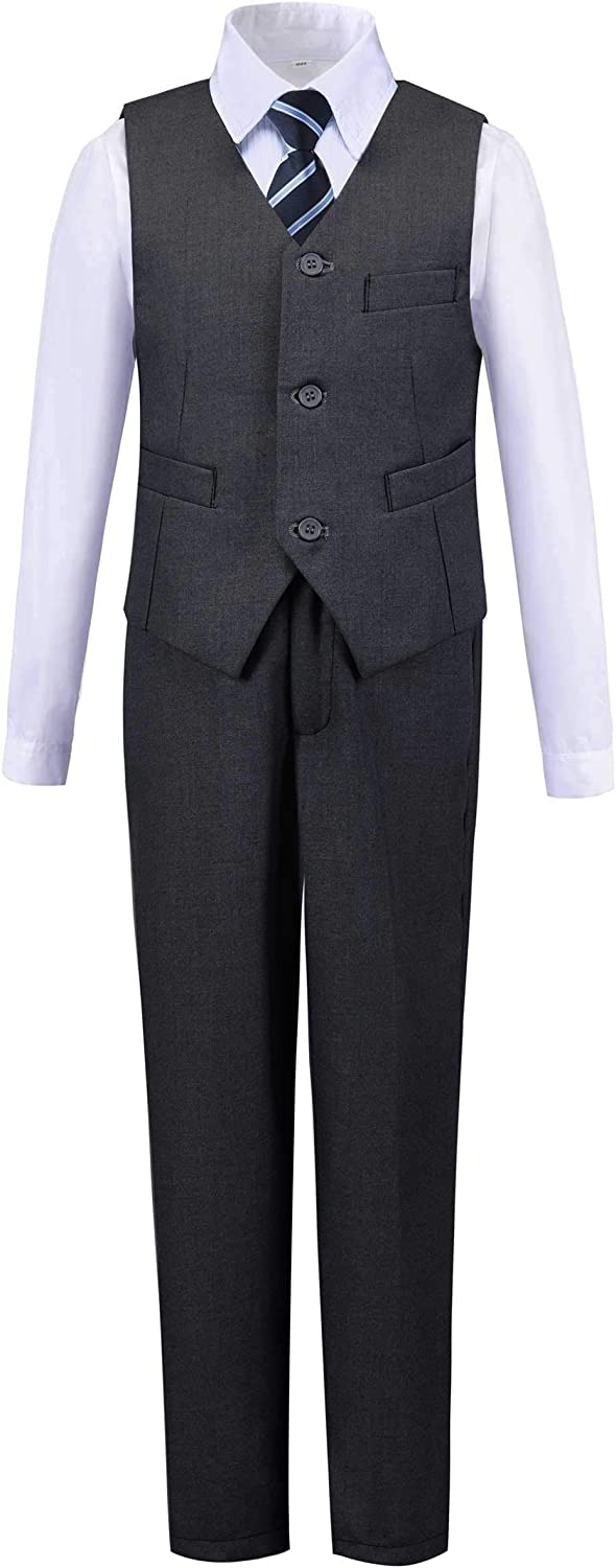 Addneo Boy's Silm Fit outlet Formal Suits Free Shipping New Vest with and Shirt Piece 5