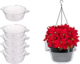"""Curtis Wagner Plastics Plant Hanging Basket Drip Pans (5-pack) - Clear, Round (Diameter = 10"""" top, 7.375"""" bottom, 3.75"""" depth) Thin Plastic for Indoor or Garden - Clear, Black & Terracotta"""
