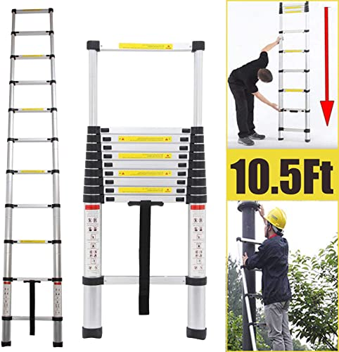 2021 10.5Ft Telescoping Aluminum Ladder 330lb Load Capacity Extendable Multi-purpose Step Ladder Heavy Duty for Home discount wholesale Loft Office online sale