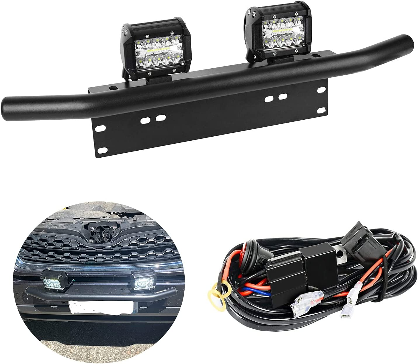 EBESTauto sale Compatible for Rapid rise 4 Inch LED Plat with Pods License Light