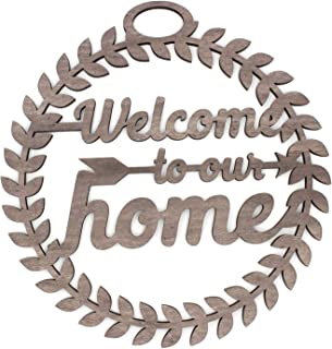 KU-DaYi Welcome to Our Home Front Door Wood Cutout Wreath Sign. Wall Front Door Decoration. Housewarming Friends and Families Gift Idea