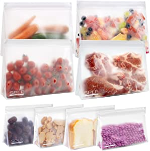 SPLF 8 Pack Dishwasher Safe Stand Up Reusable Food Storage Bags (4 Half Gallon Freezer Bags, 4 Sandwich Snack Bags), BPA Free Leakproof Silicone and Plastic Free Zipper Lunch Bags Containers